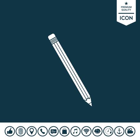 Pencil icon on plain background. Illustration