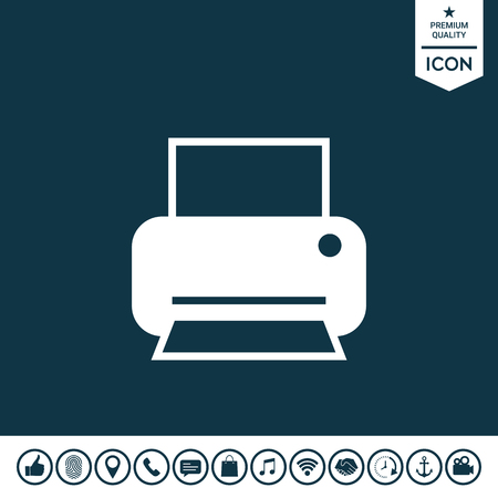 Print icon for web on plain background.