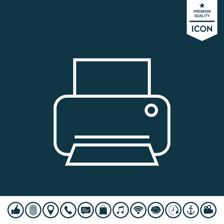 Print line icon on plain background.