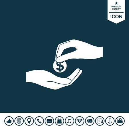 Receiving money icon illustration.