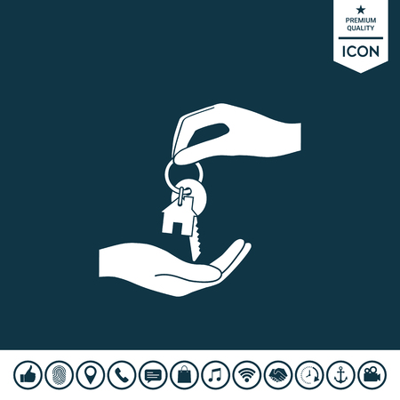 Receiving the key with key chain shaped like a house illustration. Illustration