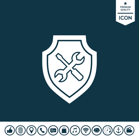 Service icon - shield with screwdriver and wrench