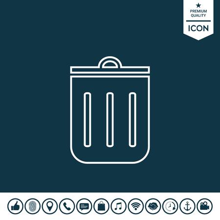 Trash can, icon Vector illustration.