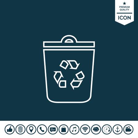 Trash can, recycle bin symbol icon Vector illustration.
