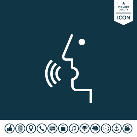 Voice control, person talking  illustration.