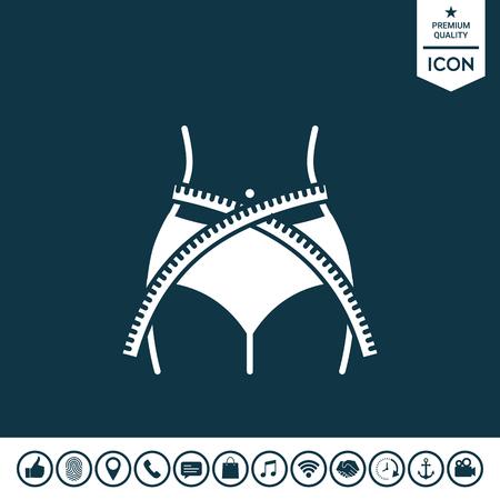 Women waist with measuring tape, weight loss, diet, waistline - icon 矢量图像