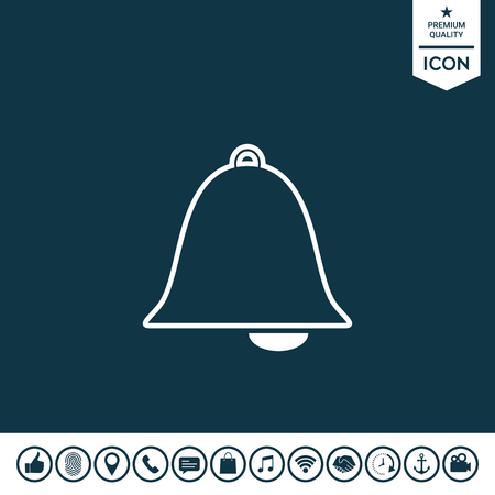 Alarm bell icon on plain background. Illustration
