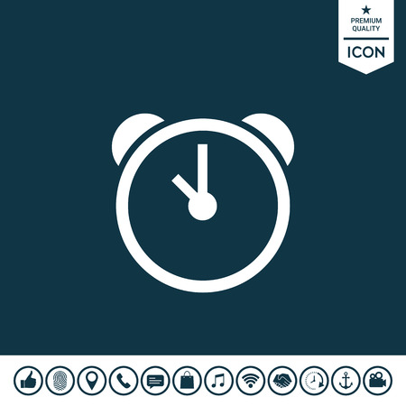 Alarm clock icon on plain background.