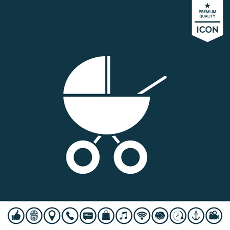Baby carriage icon on plain background. Illustration