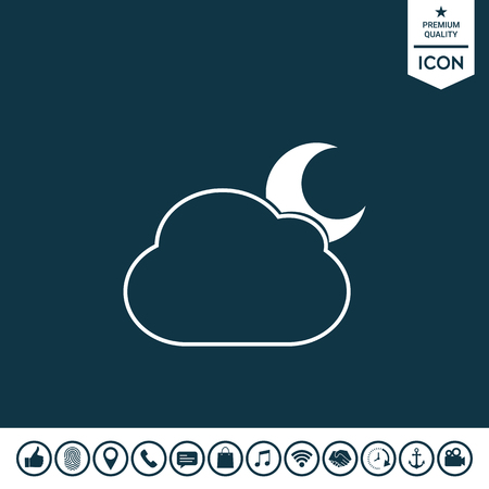 Half moon behind a line illustration of abstract cloud. Graphic element for your design.