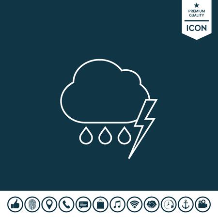 Cloud thunderstorm lightning rain line icon illustration. Illustration