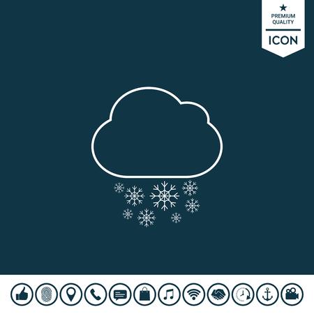 Cloud snow line icon vector illustration.