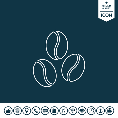 Coffee beans line icon vector illustration.