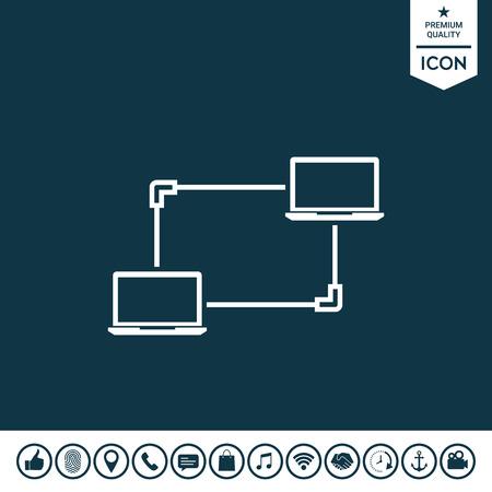 Computer network, data exchange, transfer concept icon vector illustration. Illustration