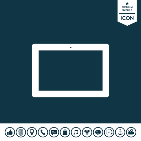 Computer tablet with blank screen, icon vector illustration.