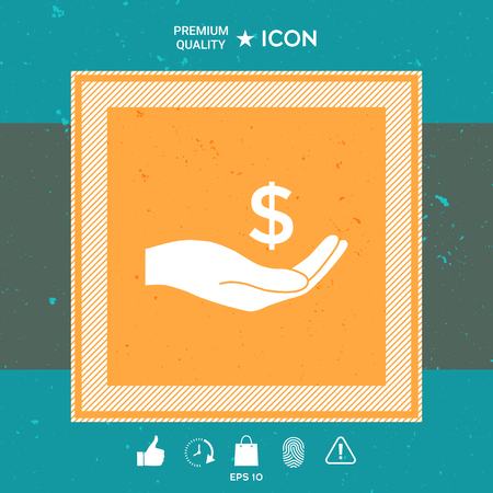 Money in hand, dollar symbol icon Vectores