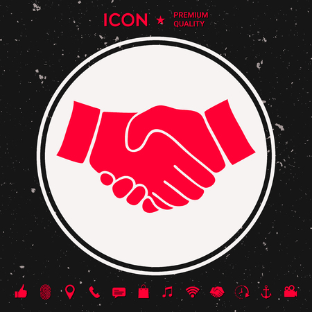 Handshake symbol icon in silhouette  illustration. Illustration