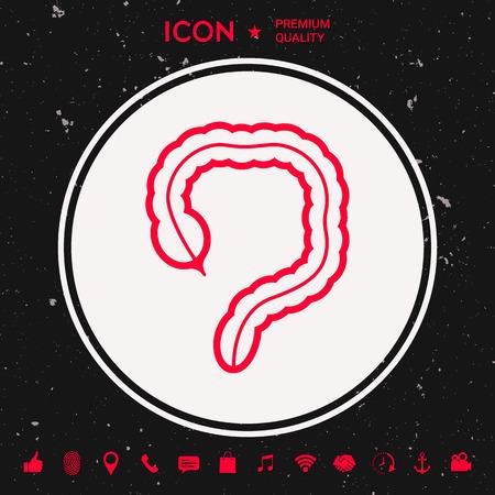 Human organ, large intestine icon.