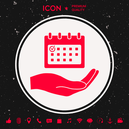 Planning, time management, hand holding calendar icon illustration.