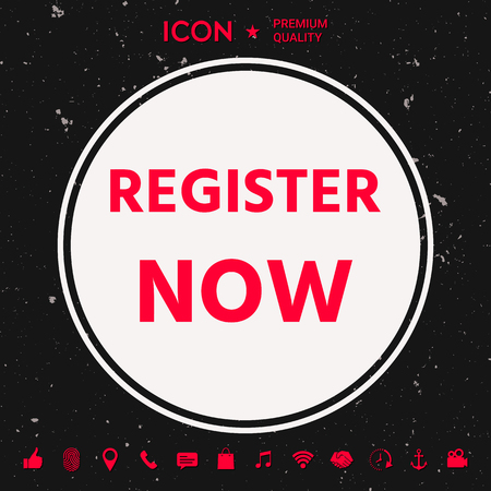 Register now button in white circle on black background with icon, app. Premium quality icon. Vector illustration. Illustration