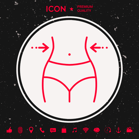 Women waist, weight loss icon in white circle on black background with icon, app. Premium quality icon. Vector illustration. 向量圖像