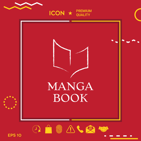 Manga book typography with book Graphic element for your design. Illustration