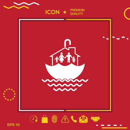 Family relocating house icon in white and yellow border on red background with web icon, app. Premium quality icon. Vector illustration.