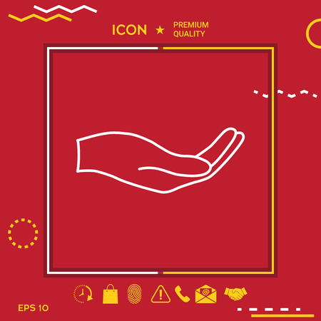 Icône de la main ouverte en jaune et blanc frontière om fond rouge avec app, icône. Illustration d'icônes de qualité Premium. Vecteurs