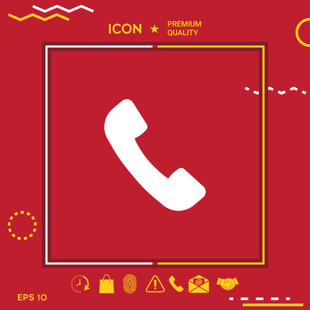Handset phone silhouette graphic element for your design. Vectores