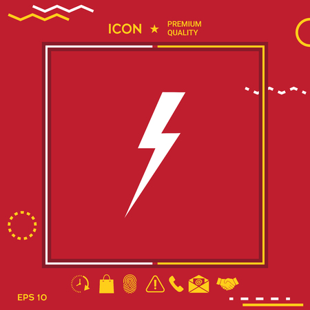 Thunderstorm lightning icon in yellow and white border om red background with app, icon. Premium quality icon illustration.