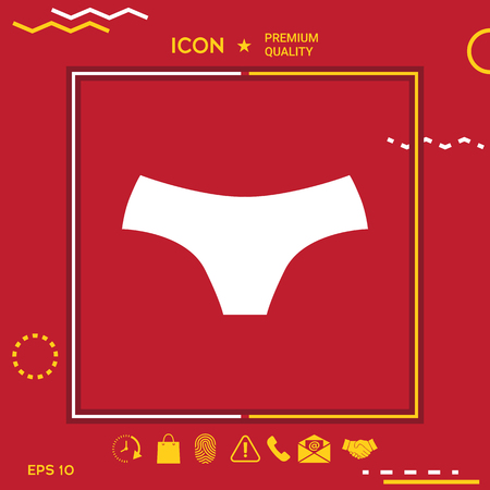 Women panties icon in yellow and white border om red background with app, icon. Premium quality icon illustration. Иллюстрация