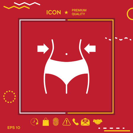 Women waist, weight loss icon in yellow and white border om red background with app, icon. Premium quality icon illustration.