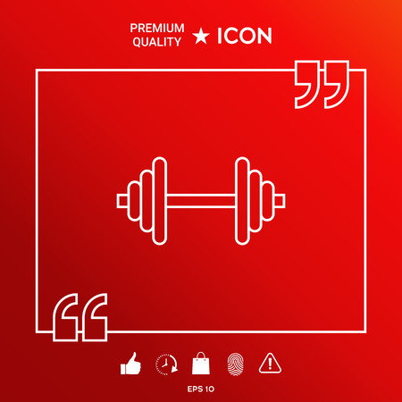Barbell line icon on red background.