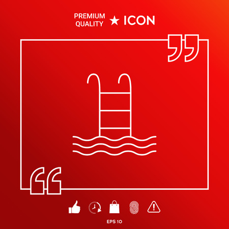 Pool symbol icon in white border on red background with icon, app. Premium quality icon illustration.
