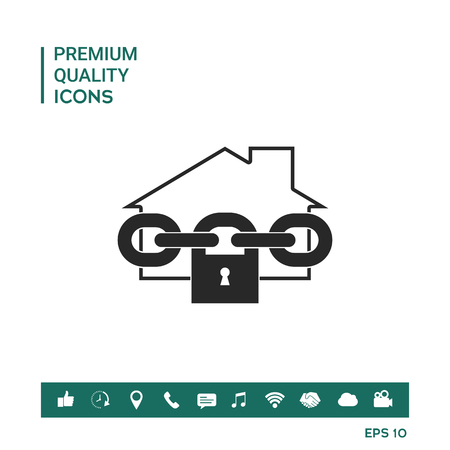 Chained house with padlock Vector illustration. Graphic element for your design.