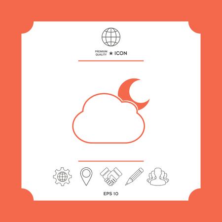 Cloud moon symbol -  icon