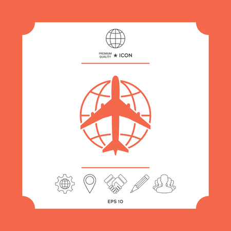 Earth and Airplane logo on RED presentation.