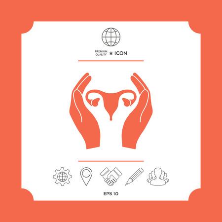 Hands holding Female uterus - protection icon Illustration