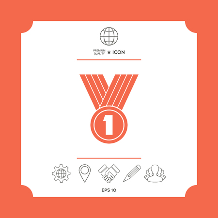 Medal symbol Icon in white square with web icon, app on red background. Premium quality icon illustration. Illustration