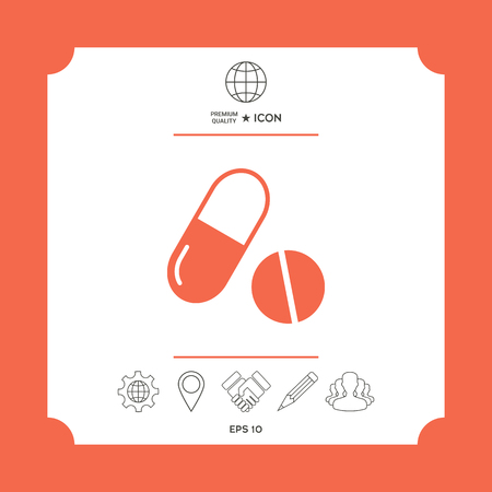Medicines pills - Capsule and pill icon in white square with web icon, app on red background. Premium quality icon illustration. Illustration