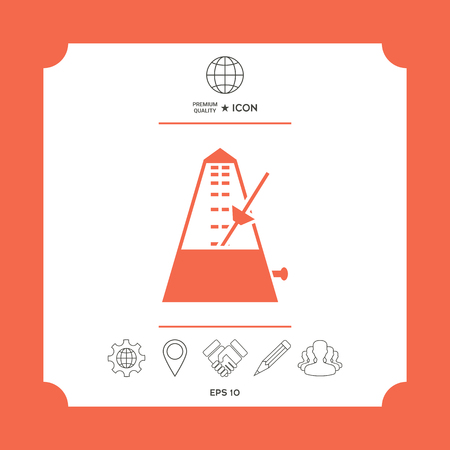 Metronome symbol icon in white square with web icon, app on red background. Premium quality icon illustration. Illustration