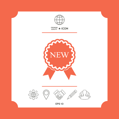 New offer icon with ribbons in white square with web icon, app on red background. Premium quality icon illustration.