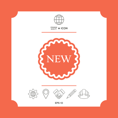 New offer icon in white square with web icon, app on red background. Premium quality icon illustration.