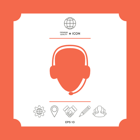 Operator in headset. Call center icon in white square with web icon, app on red background. Premium quality icon illustration. Ilustração