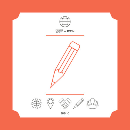 Pencil - linear icon in white square with web icon, app on red background. Premium quality icon illustration.