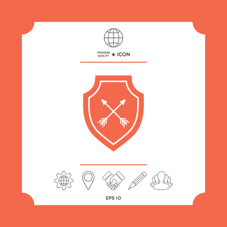 Shield with arrows. Protection icon in white square with web icon, app on red background. Premium quality icon illustration.