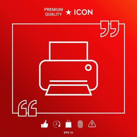 Printer icon vector illustration on red background. Symbols and signs - graphic elements for your design.