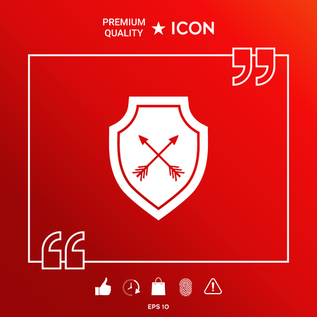 Shield with arrows. Protection icon Illustration