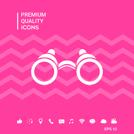 Binoculars symbol with smartphone tools icons on pink background vector illustration