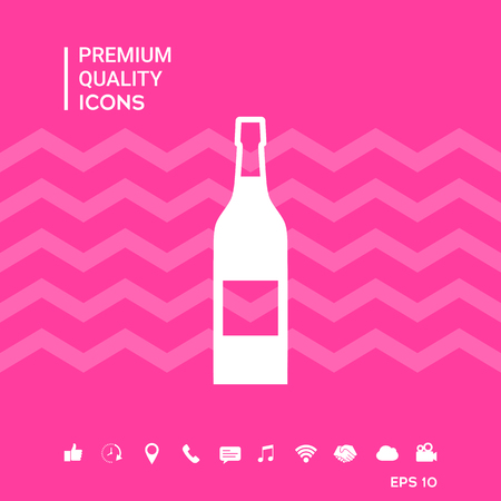 Bottle of wine with smartphone tools icons on pink background vector illustration